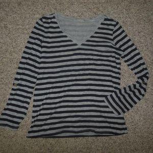 NEW GAP XS Gray Navy Stripe Knit Shirt Pocket